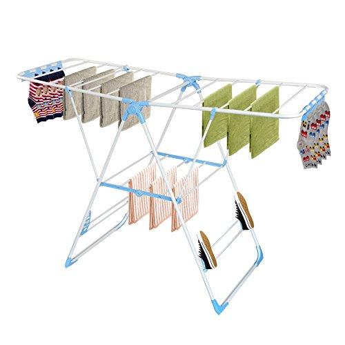 Todeco - Etendoir à Linge Pliable, Séchoir à Linge Réglable - Taille déployée: 138 x 95 x 56 cm - Dimensions du Produit replié: 104 x 62 x 7,6 cm - Blanc/Bleu