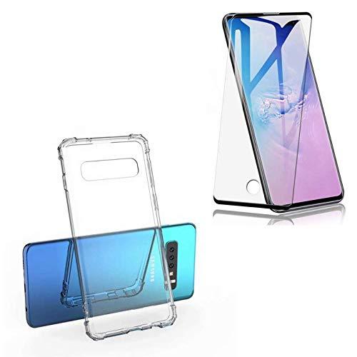 Capa Case Compatível Samsung Galaxy S10 Plus + Película 11d Cola Tudo Com Furo Para Biometria