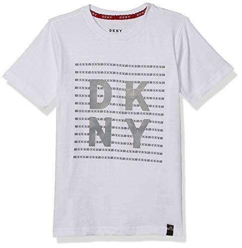 DKNY Boys' T-Shirt, Block White, 8
