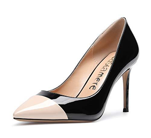 CASTAMERE Damen High Heels Spitzen Pumps 8.5CM Stiletto Heels Lackleder Schwarz Nackt Schuhe EU 38