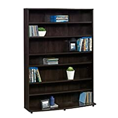 """Six adjustable shelves Holds 280 DVDs or 426 CDs Cinnamon Cherry finish Engineered wood construction Assembled dimensions: L: 32.441"""" x W: 9.409"""" x H: 45.354"""