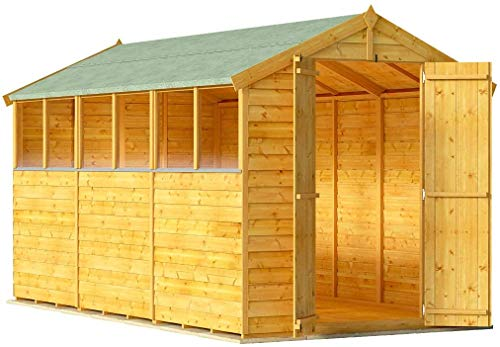 BillyOh Keeper Overlap Garden Shed with Floor | Wooden Garden Storage Shed with Apex Roof & Felt Included | Windowed or Windowless- Multiple Sizes (12x6 Windowed)