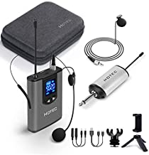 Hotec Wireless Headset Lavalier Lapel Microphone System for iPhone, DSLR Camera, PA Speaker, YouTube, Podcast, Video Recording, Conference, Vlogging, Church, Interview, Teaching