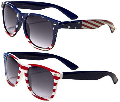 2 Pairs Classic American Patriot Flag Wayfarer Sunglasses USA bulk