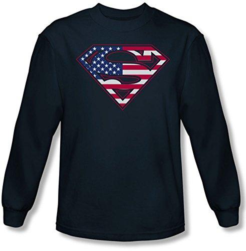 Superman - - US Bouclier shirt manches longues Homme En Marine, Small, Navy