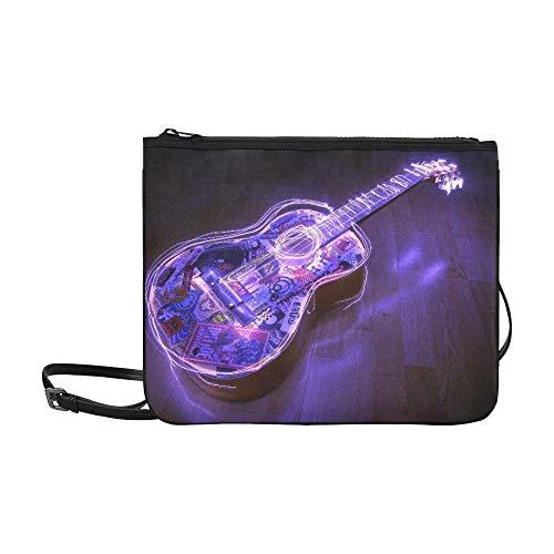 NA Bolso de embrague vintage Guitarra Ondas acústicas Logotipos de luz Música...