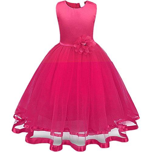 Mädchen Prinzessin Kleid Sannysis Blumenmädchenkleid Mädchen Prinzessin Kinderkleid Partykleid Tutu Tüll Kleid Party Brautkleid (Rosenrot, 160)