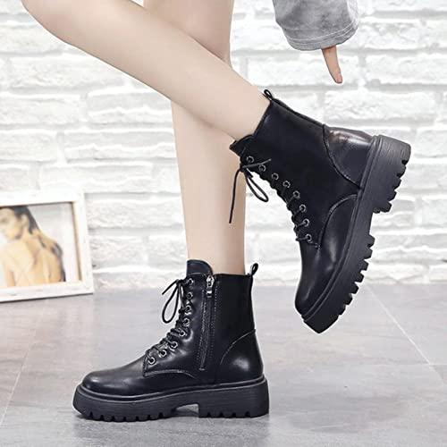 JUSTMAE Donna Stivali da Donna Bootwear Boot Torta in Pizzo in Pelle Pelle Antiscivolo Piattaforma di Moda Donna 2021 Nuova Primavera Autunnale Plus Size-Black,9