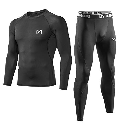 Men's Sport Base Layer Set, Mesh-Side Cool Dry Workout Fitness Long Sleeves Shirt and Pants, Compression Long Johns Underwear