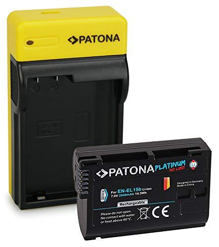 PATONA Platinum Batterie EN-EL15b avec Slim Chargeur Compatible avec Nikon 1 V1, Z6, Z7, D7000, D7100, D7200, D7500