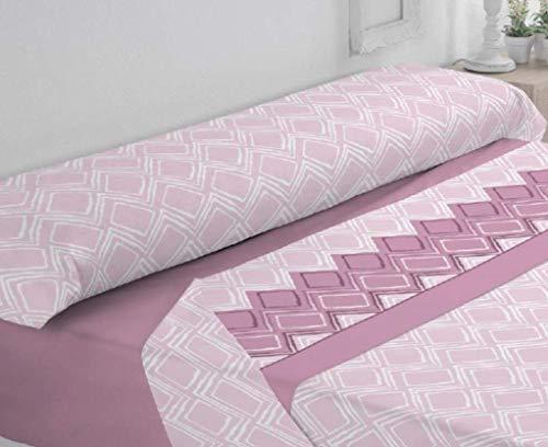 Trovador. Juego de sábanas de coralina. Cama de 90. Modelo Rombos. Color Rosa. 3 Piezas.