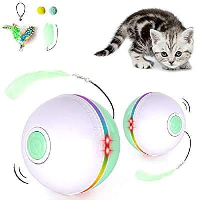 Fairwin Cat Toys Interactive Cat Ball, Cat Toys for Indoor Cats with LED Light and Catnip Toys for Cats Kitten Funny Chaser Roller Auto 360 Degree Self-Rotating & USB Rechargeable(2021 Version)