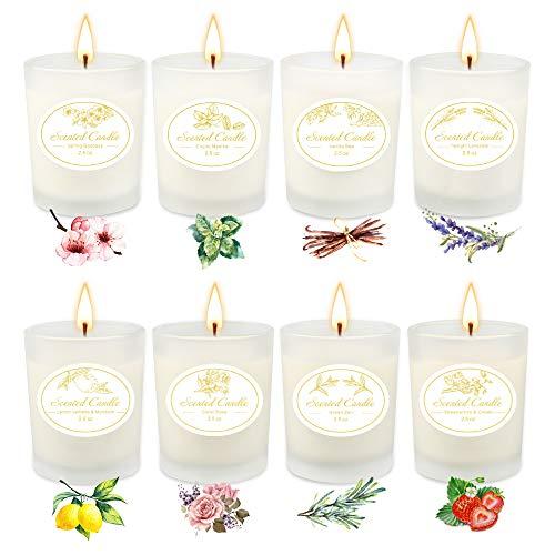 TOFU Bougies Parfumées Cadeau Cire De Soja Naturel pour la Vie de Famille, Aromathérapie Bougies pour la Fête des Mères,Anniversaire,la Saint Valentin et Utilisation Quotidienne 8 Pack