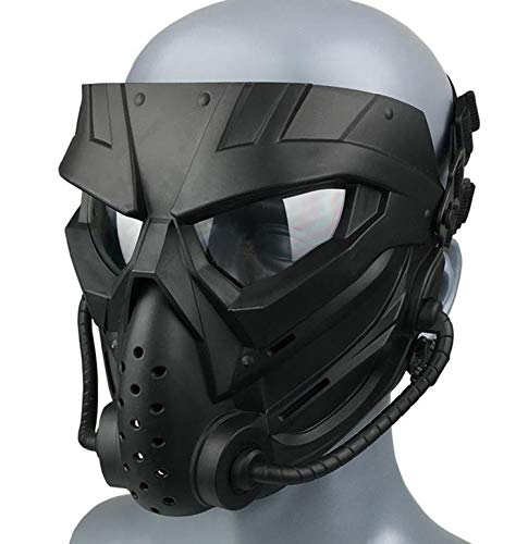 Original Creation Tactical Anti-fog Airsoft Mask with Clear Lens Protective Full Face mask Dual Mode Wearing Design Adjustable Strap for Airsoft Paintball Cosplay Costume Party (Black transparent )