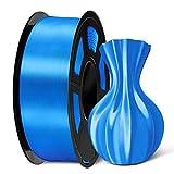 SUNLU PLA Silk Blue Filament 1.75mm 3D Printer Filament, 1KG 2.2 LBS Spool 3D Printing Material, Shiny Metallic PLA Silk Filament