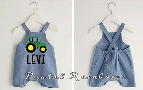 Custom Personalized Boys Blue Jean Ou Farm Topics on TV Weekly update Shortall-Boys Tractor
