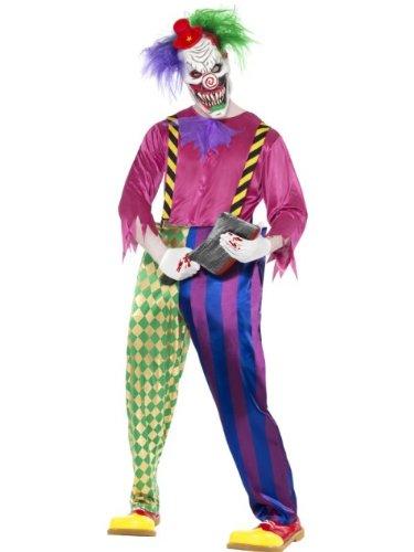 Smiffys Costume clown tueur coloré, avec chemise, pantalon, bretelles & masque