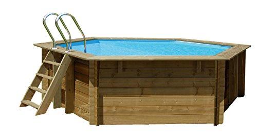 Gre - 790083 Piscine avec bords octogonal 8700L bleu, bois, piscine, hors sol