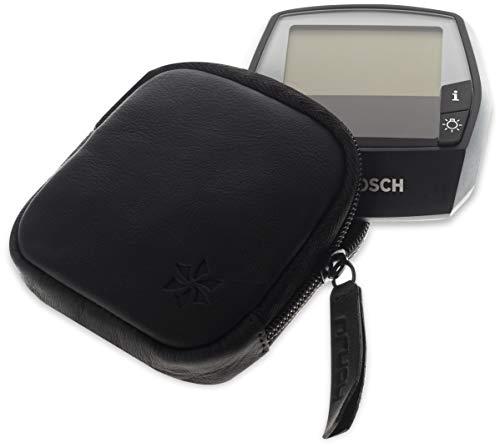 honju Bike Echtledertasche für Bosch Intuvia E-Bike / Pedelec (Displayschutz, Innentasche für Schlüssel, Schutz vor Kratzer & Schmutz) - schwarz