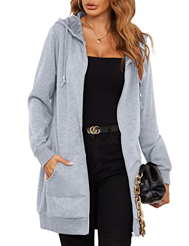 Zeagoo Ladies Womens Classic Fleece Pea Coat Jacket for Cocktail Party,Gray,X-Large