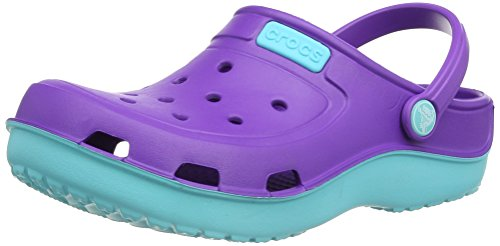 Crocs Duet Wave Clog Kids, Zuecos Unisex Niños, Rosa (Neon Purple/Pool), 19/20 EU