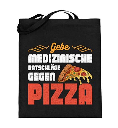 Pizza para médicos y enfermeras – Bolsa de yute (con asas largas), color Negro, talla 38cm-42cm