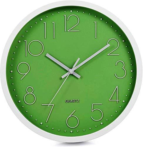 LENRUS 12 Zoll Wall Clock Modern Quartz Lautlos Wanduhr mit Arabisch Ziffer Wanduhren Ohne Ticken Wohnaccessoires Deko (Grün)