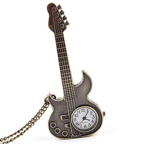 Reloj de bolsillo Pequeño bolsillo reloj collar mujer moda joyería bronce mini tamaño guitarra cuarzo relojes colgante niñas mujeres pequeño regalo para hombres mujeres ( Color : Show as the picture )