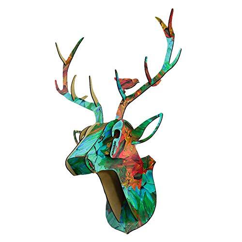 MERIGLARE Decoración de Pared de Dormitorio Montada Colgante de Pared Animal Cabeza de Ciervo Alce de Madera - 003, Individual