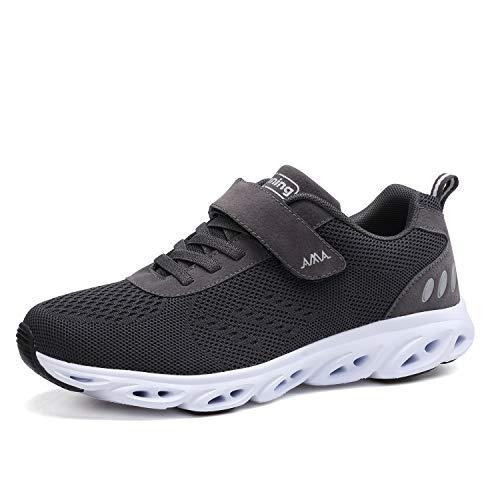 Ulogu Unisex Laufschuhe Outdoor Fitness Schuhe Leicht Atmungsaktiv Turnschuhe-Sneaker mit Klettverschluss, Gr.-39 EU, Dunkelgrau
