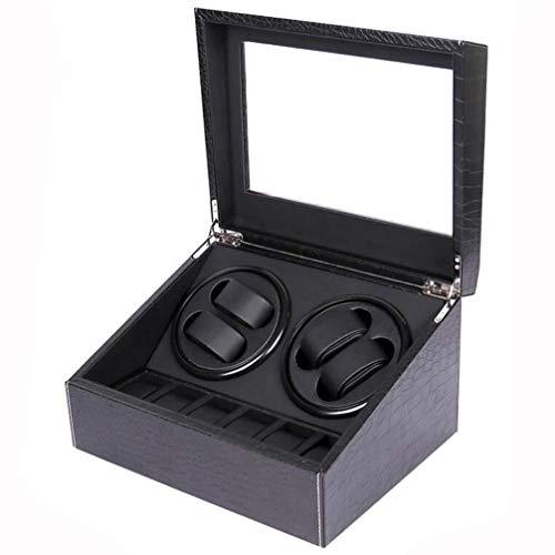 cajas de cartón para embalaje de lujo 4+6 caja automática de la devanadera del reloj importado Mabuchi Quiet Motor, caja de almacenamiento de reloj de cuero de la PU Caja de embalaje de cartón