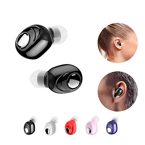 V5.0 Stereo Running Earbud Headphones,Mini Subwoofer ultra pequeño Auriculares invisibles inalámbricos con diseño ergonómico impermeable para el oído,adecuados para iOS Android Samsung Huawei (Black)