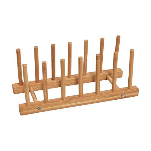 Yardeen Bamboo Dish Drying Rack Water Cup Drain tray Plate Holder Kitchen Sink Shelf Set