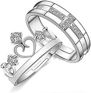 النسخة الكورية من خاتم المجوهرات الرجعية زوجين خواتم بسيطة الرجال والنساء فتح التاج