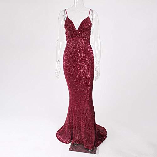 Partykleid V-Ausschnitt Paillettenkleid Bodenlanges Partykleid Ärmellos Trägerlos Rückenfreies Abendkleid-Burgund_L