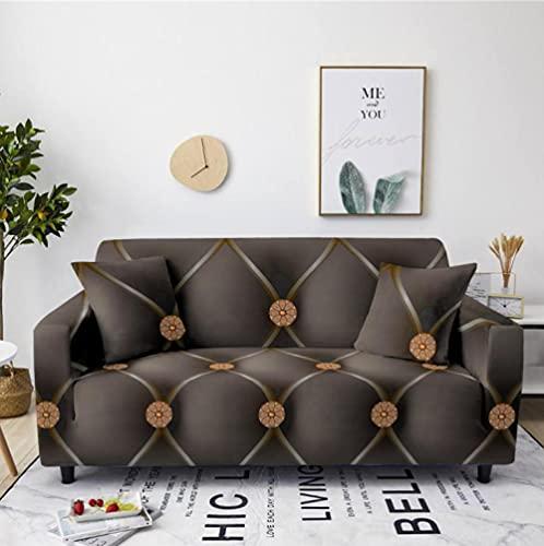 Patrón de mármol Gris Funda de sofá de 4 Plazas Funda Elástica para Sofá Poliéster Suave Sofá Funda sofá Antideslizante Protector Cubierta de Muebles Elástica