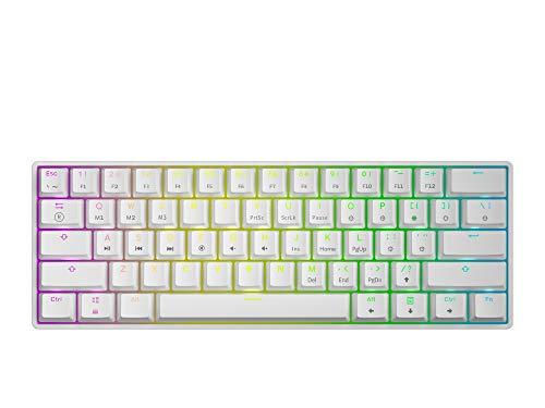 GK61 Mechanische Gaming-Tastatur – 61 Tasten RGB beleuchtete LED-Hintergrundbeleuchtung, PC/Mac Gamer (Gateron Optical Red, Weiß)
