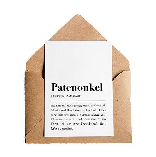 Grußkarte Patenonkel: DIN A6 Karte mit Umschlag (Kraftpapier)