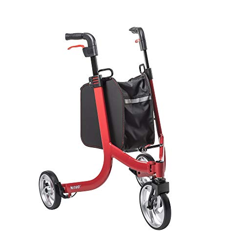 Drive Medical Nitro 3 Euro-Style Rollator Walker with Wheels, Red