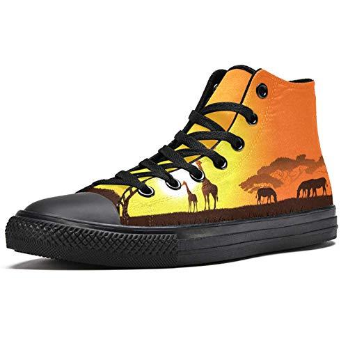 LORVIES Jirafas de animales africanos con caballos al atardecer del sol, zapatillas de lona para hombre, (multicolor), 36 EU