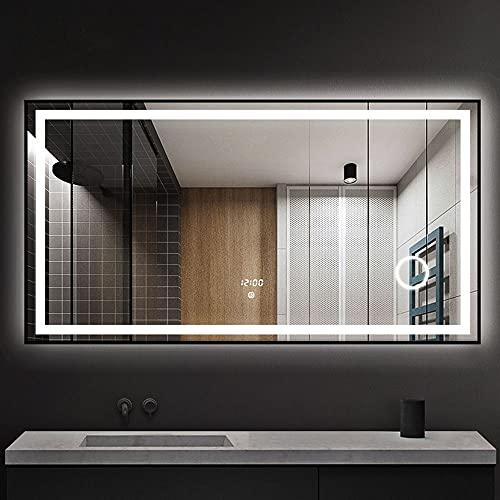 FAJ7G Espejo de baño Inteligente con luz, Espejo de Maquillaje con iluminación LED antivaho, Control táctil, iluminación de Tres Colores, diseño de Lupa 3X
