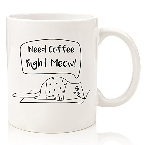 Need Coffee Meow Funny Cat Mug - Best Christmas Gifts for Women, Men, Wife - Unique Cat Themed Birthday Present Idea - Fun Coffee Cup for Cat Mom, Dad, Lover, Lady - Cool Cat Gifts from Son, Daughter