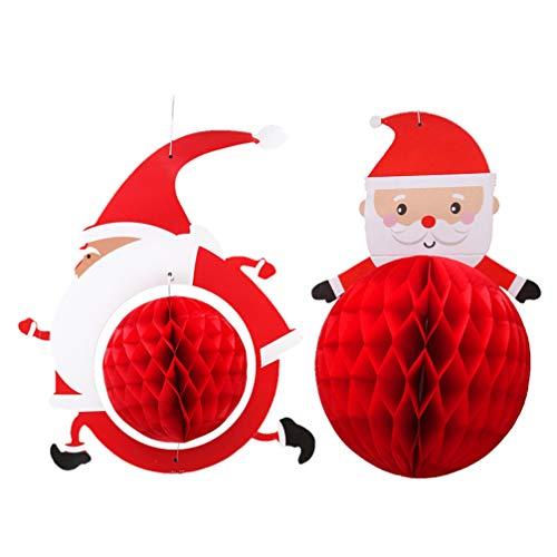 Artibetter 2 Piezas de Dibujos Animados de Santa Honeycomb de Navidad de Papel Linterna Árbol de Navidad Decoración de Papel Pom Poms Bola para Cumpleaños Boda Decoración Del Hogar