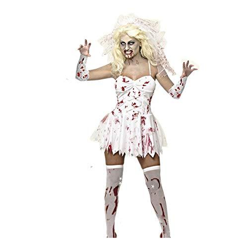 People-COS1 Bloody Mary Vampire Bride Demon Costume Halloween Party Zombie Nurse COS Suit Adult Fancy Dress,M