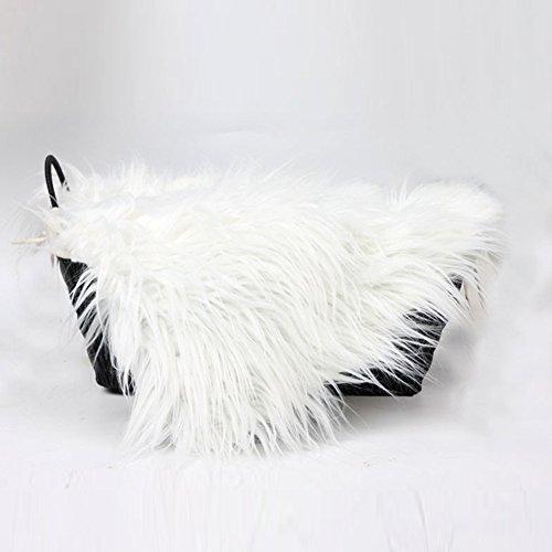 Baby Photo Props Blanket, Newborn Faux Fur Photography Basket Stuffer Rug, Beanbag Background Backdrop Mat (4# ,White)