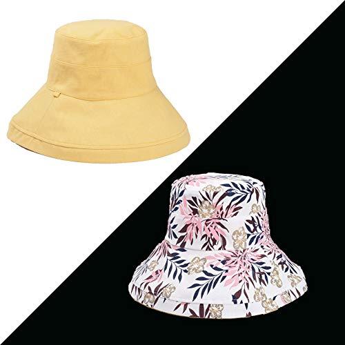 JXFM Vrouwelijke zomer wilde dubbelzijdige visser hoed UV bescherming gezicht zonnehoed zonnekap hoed mango geel