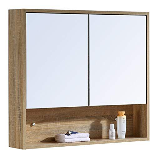 Badezimmerspiegel, Massivholz-Badezimmerspiegelschränke, Spiegelschränke mit Regalen, Toilettenschränke, Bettlaken sind kratzfest und verschleißfest, formaldehydfrei, Größe 60 * 70 * 14CM