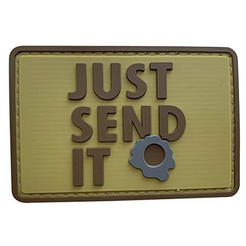 uuKen Just Send It Sniper Gummi-Flicken für taktische Ausrüstung, Militärkleidung, Westen, Rucksäcke, Hellbraun
