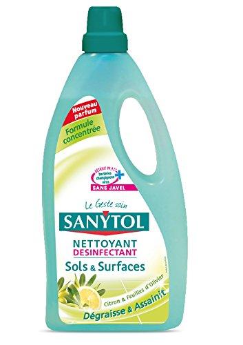 Sanytol - 33631222 - Desinfectant Nettoyant Sols - 1 L - Citron & feuilles d'oliver - Lot de 2
