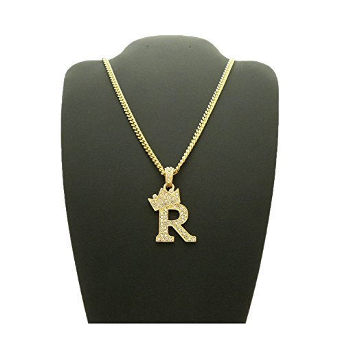 """Fashion 21 Unisex Small Size Pave Crown Tilted Initial Alphabet Letter Pendant 3mm 24"""" Cuban Chain Necklace in Gold, Silver Tone (R - Gold Tone) Maryland"""